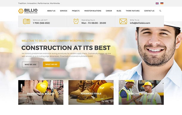 Billio - 37+ Top WordPress Themes For Construction Company [year]