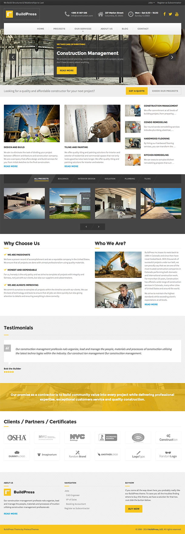 BuildPress - 37+ Top WordPress Themes For Construction Company [year]