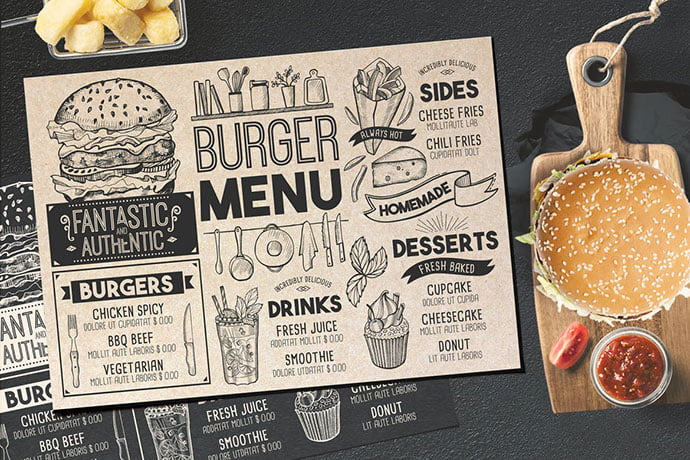Burger-Food-Menu-Template - 36+ Stunning Hand Drawn Restaurant Menu Design PSD Templates [year]