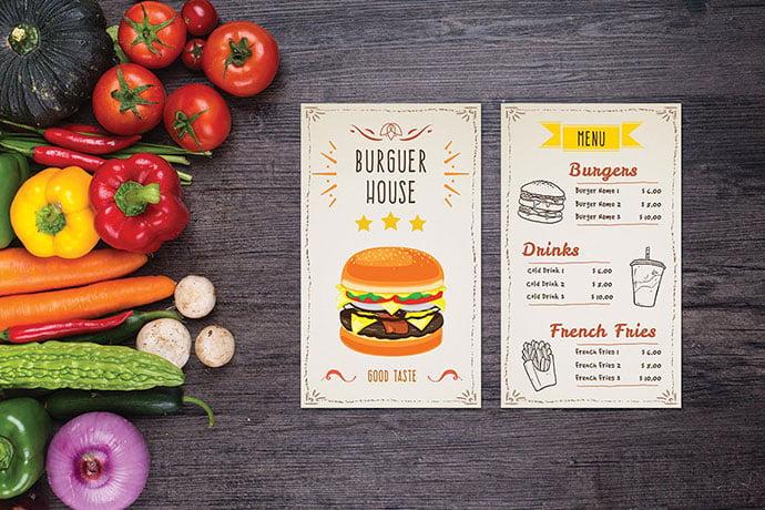 Burger-House-Food-Menu - 36+ Stunning Hand Drawn Restaurant Menu Design PSD Templates [year]