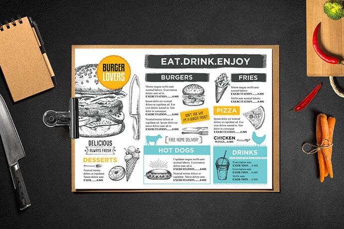 Burger-Menu-Template-Restaurant - 36+ Stunning Hand Drawn Restaurant Menu Design PSD Templates [year]