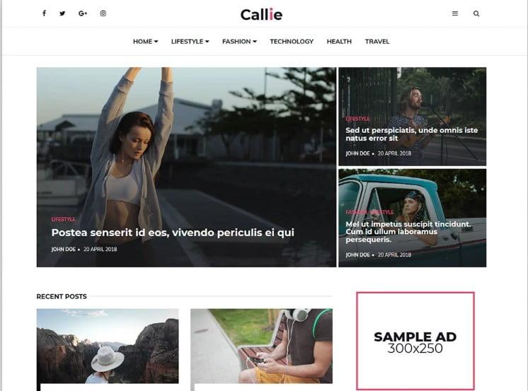 Callie - 41+ Top Best Free WordPress & HTML5 Template [year]