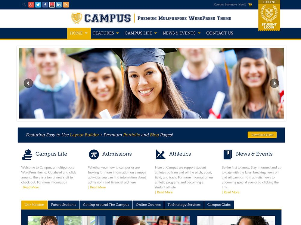 Campus - 51+ Top Best WordPress Themes For Education [year]