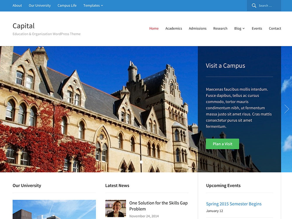 Capital - 51+ Top Best WordPress Themes For Education [year]