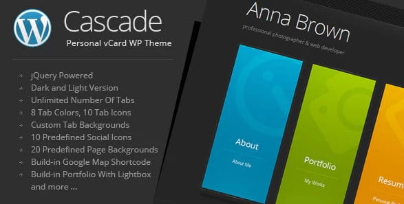 Cascade - 31+ Top WordPress Themes For vCard [year]