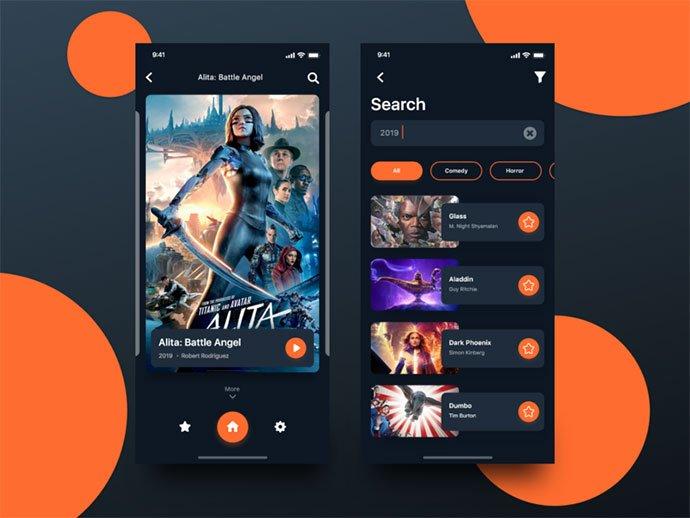Cinema-App - 63+ Amazing Film & TV App UI Design Sample [year]