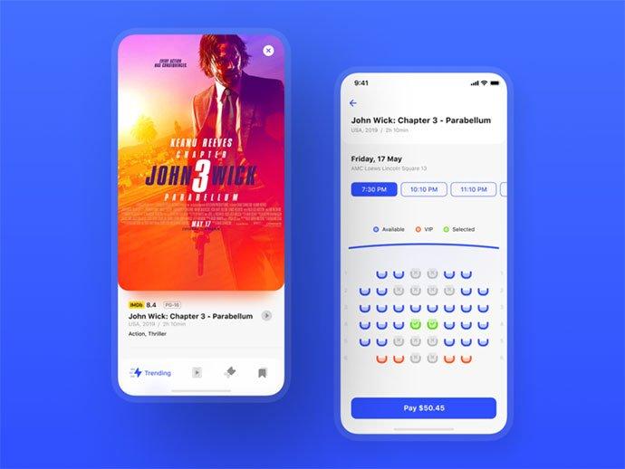 Cinema-Tickets - 63+ Amazing Film & TV App UI Design Sample [year]