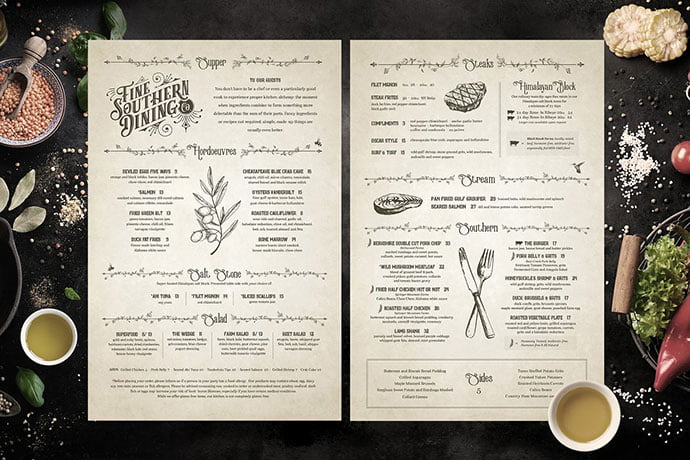 Classic-Vintage-Restaurant-Menus - 36+ Stunning Hand Drawn Restaurant Menu Design PSD Templates [year]