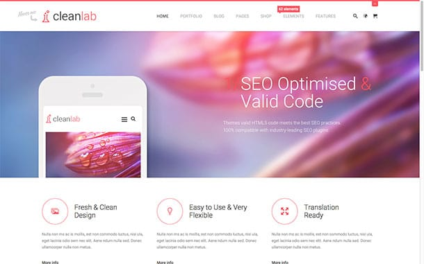 CleanLab - 31+ Top WordPress Themes For Drag and Drop [year]