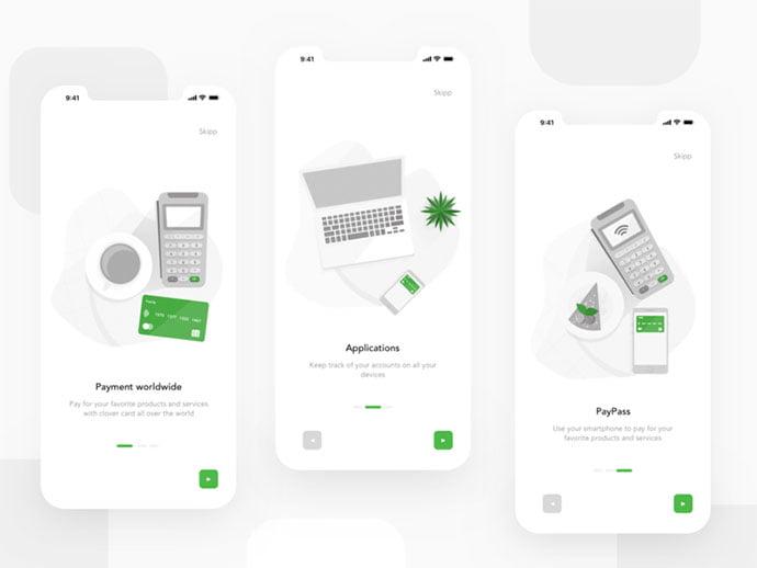 Clover-Bank-App-Onboarding-Screens - 51+ Best Free Onboarding UI Mobile App Sample [year]