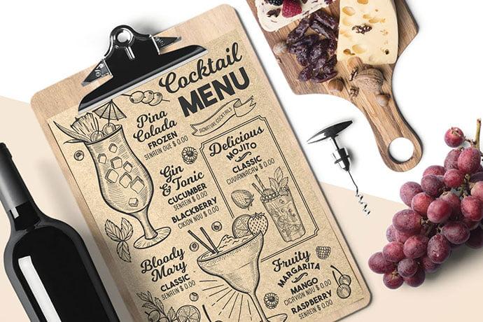 Cocktail-Drink-Menu - 36+ Stunning Hand Drawn Restaurant Menu Design PSD Templates [year]