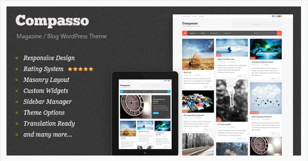 Compasso - 36+ Amazing Tumblr Style WordPress Themes For Developer [year]
