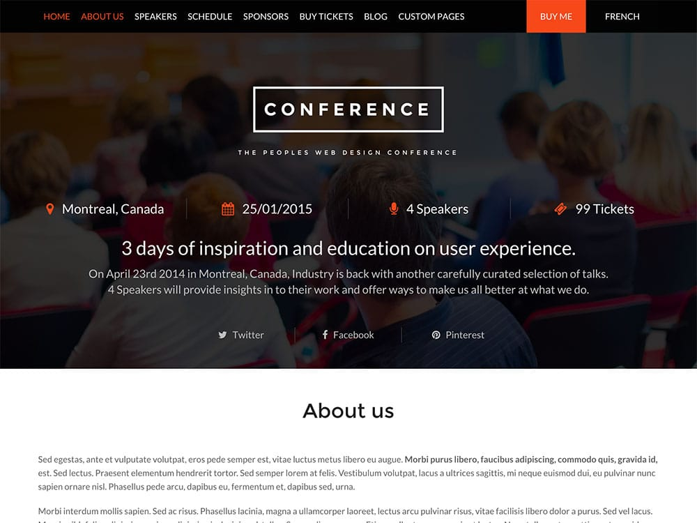 Conference - 41+ Top Awesome WordPress Themes For Events [year]