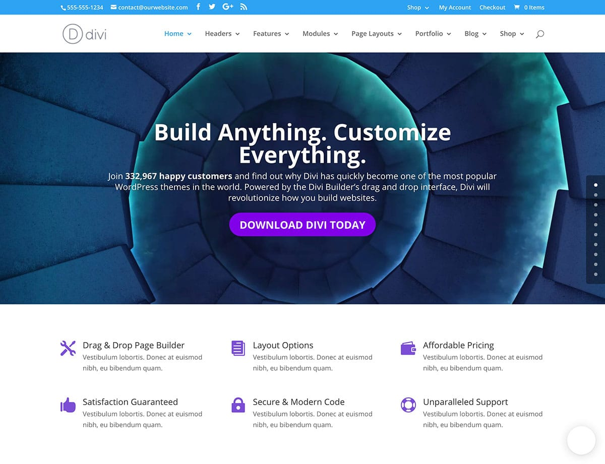 Divi - 31+ Top WordPress Themes For Drag and Drop [year]