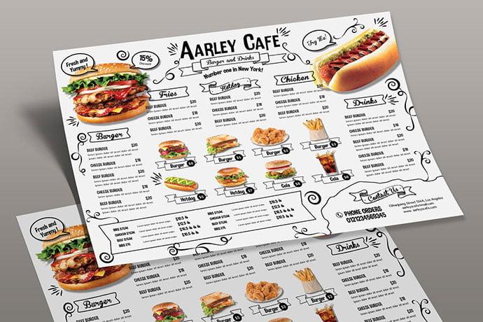Doodle-Cafe-Menu-Board - 36+ Stunning Hand Drawn Restaurant Menu Design PSD Templates [year]