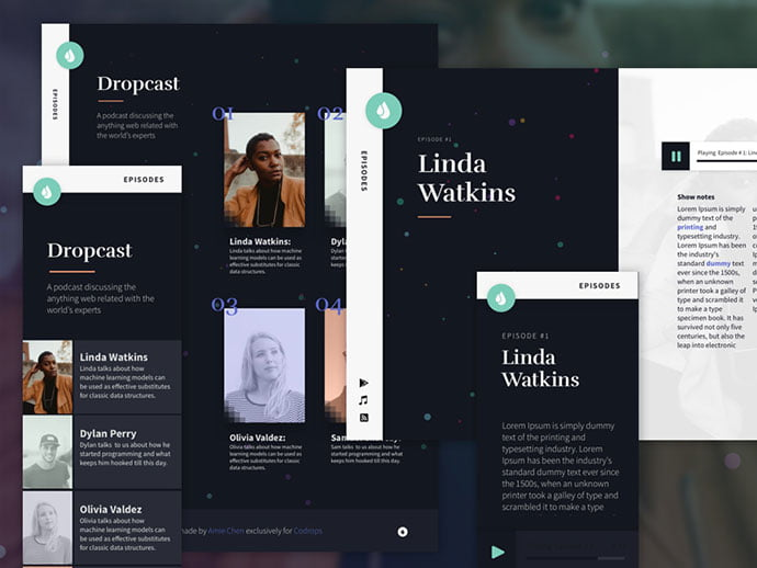 Dropcast - 65+ Amazing Free CSS HTML5 Website Design Templates [year]