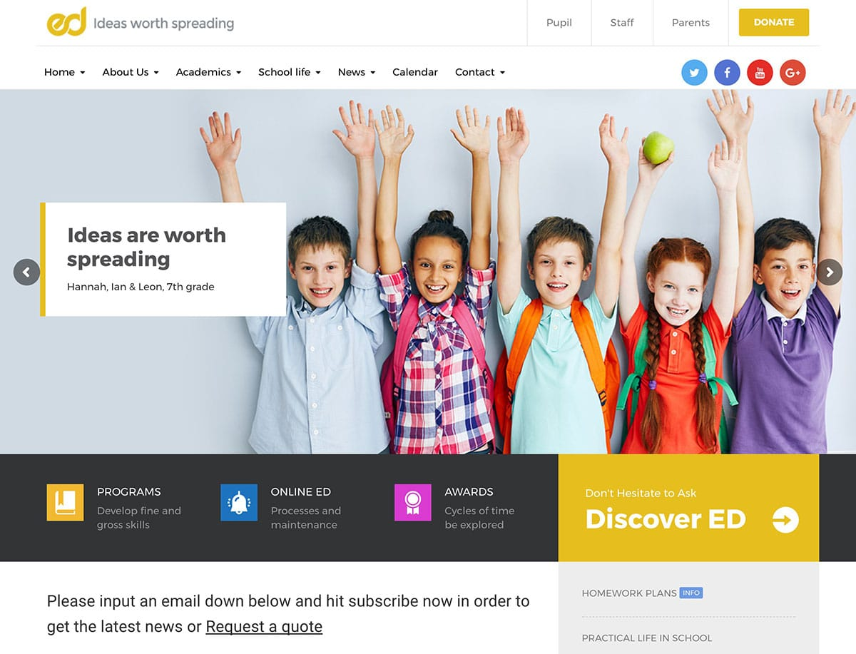 Ed-School - 51+ Top Best WordPress Themes For Education [year]