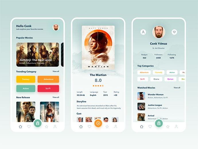 Emre-Secer - 63+ Amazing Film & TV App UI Design Sample [year]