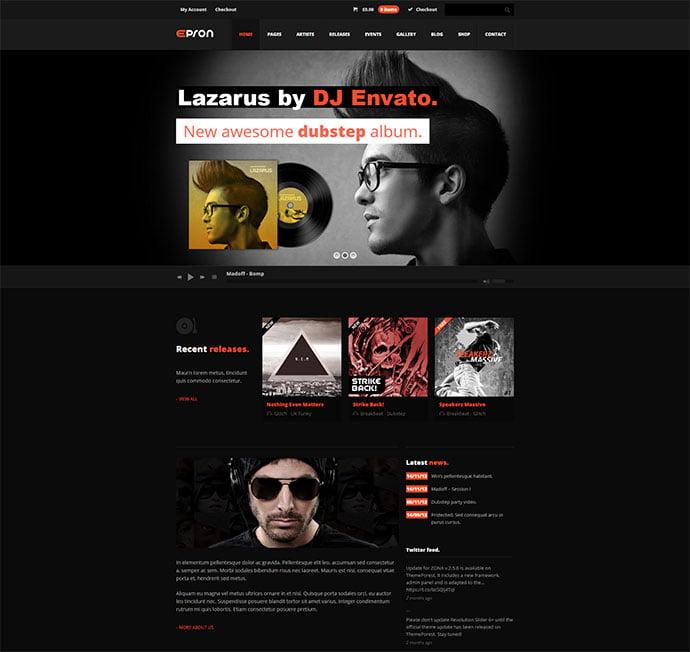 Epron - 31+ Best Online Music Selling WordPress Themes [year]