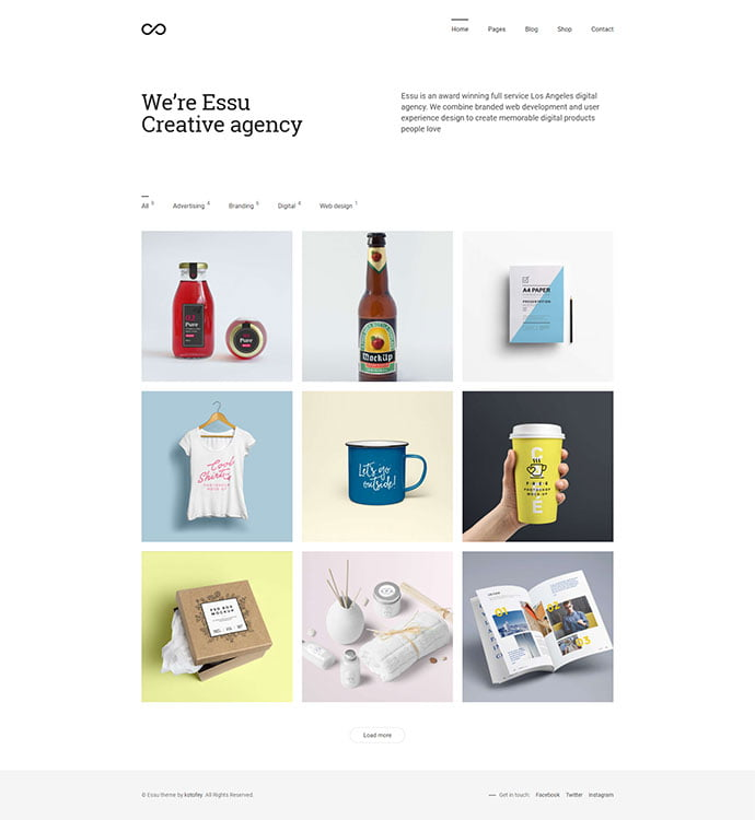 Essu - 31+ Awesome WordPress Themes For Swiss-inspired [year]