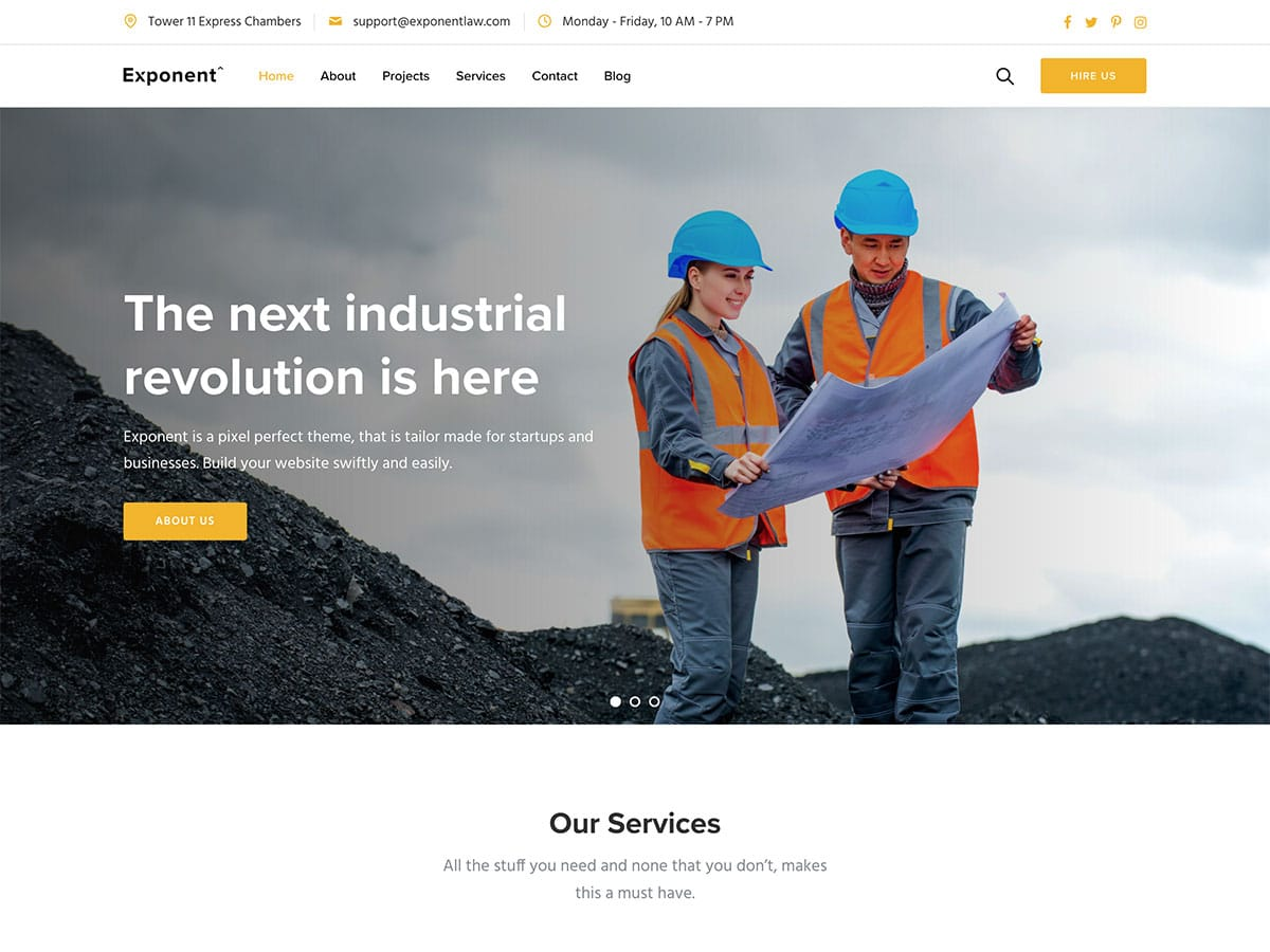 Exponent - 37+ Top WordPress Themes For Construction Company [year]