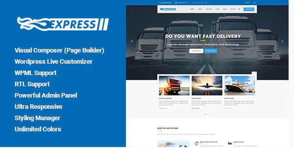 Express - 36+ Stunning WordPress Themes For Transportation [year]