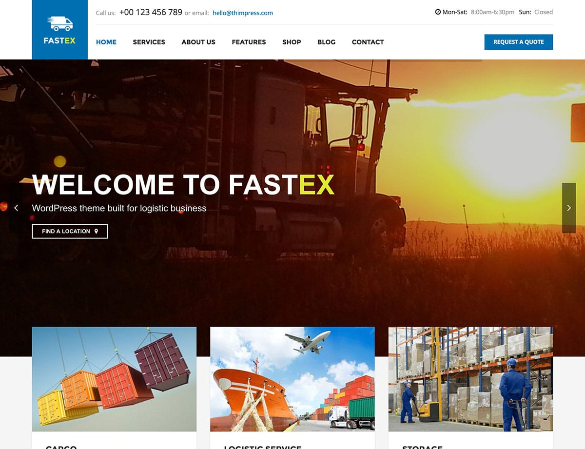 FastEx - 36+ Stunning WordPress Themes For Transportation [year]