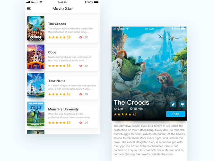 Film-1 - 63+ Amazing Film & TV App UI Design Sample [year]
