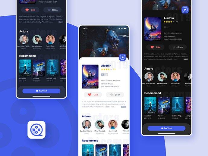 Film-Ticket - 63+ Amazing Film & TV App UI Design Sample [year]