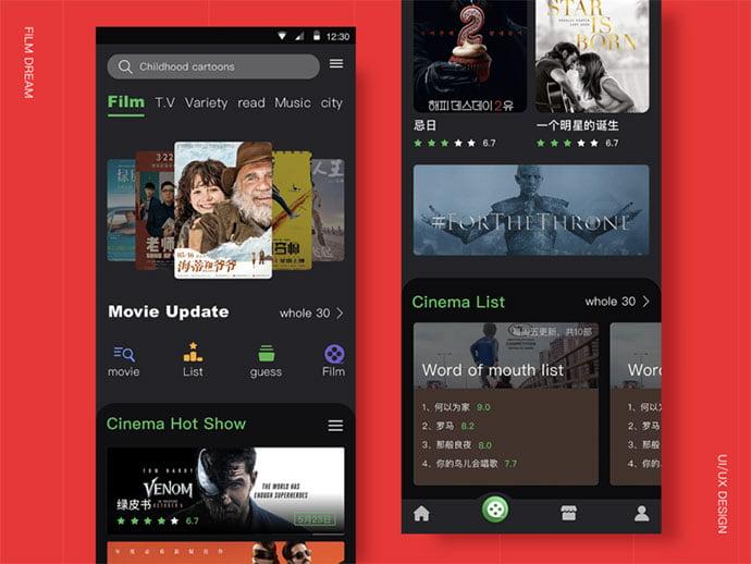Film - 63+ Amazing Film & TV App UI Design Sample [year]