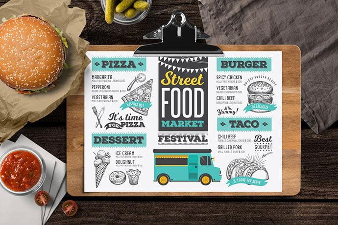 Food-Truck-Menu - 36+ Stunning Hand Drawn Restaurant Menu Design PSD Templates [year]
