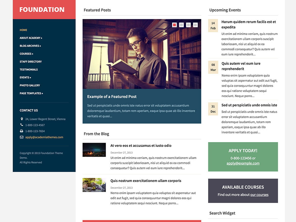 Foundation - 51+ Top Best WordPress Themes For Education [year]