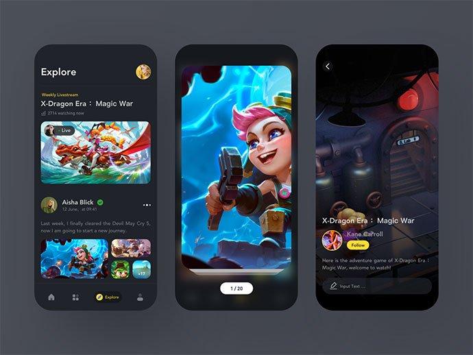 Game-TV-Explore - 63+ Amazing Film & TV App UI Design Sample [year]