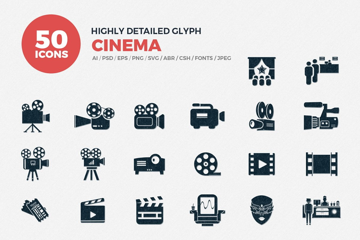 Glyph-Icons-Cinema-Set - 63+ Amazing Film & TV App UI Design Sample [year]