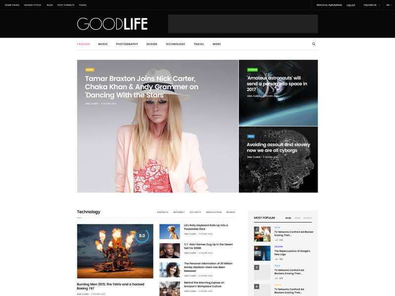 GoodLife - 36+ Amazing Tumblr Style WordPress Themes For Developer [year]
