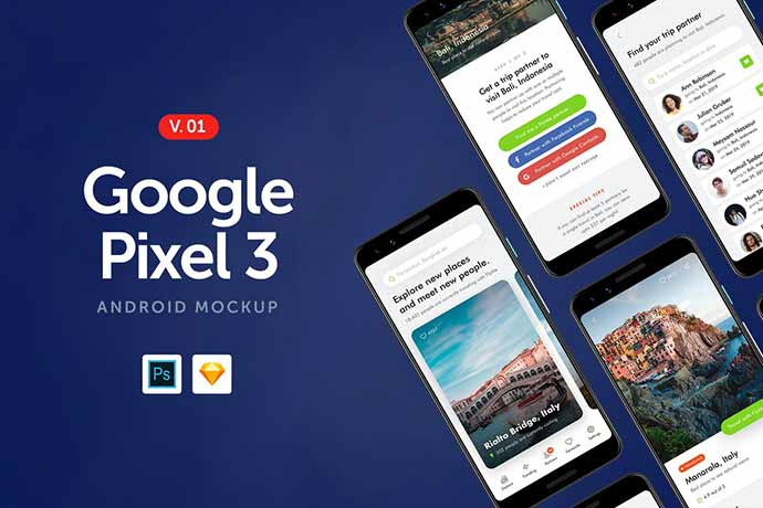 Google-Pixel-3 - 51+ Amazing iOS and Android Phone PSD Mockup Templates [year]