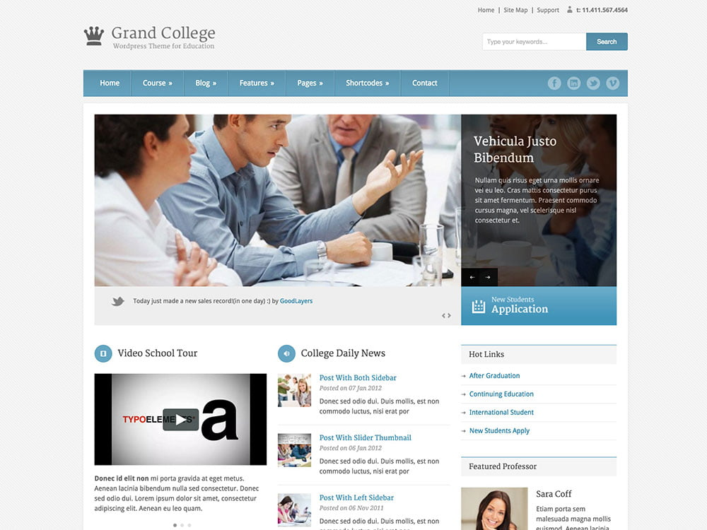 Grand-College - 51+ Top Best WordPress Themes For Education [year]