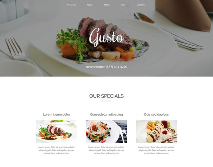 Gusto - 65+ Amazing Free CSS HTML5 Website Design Templates [year]