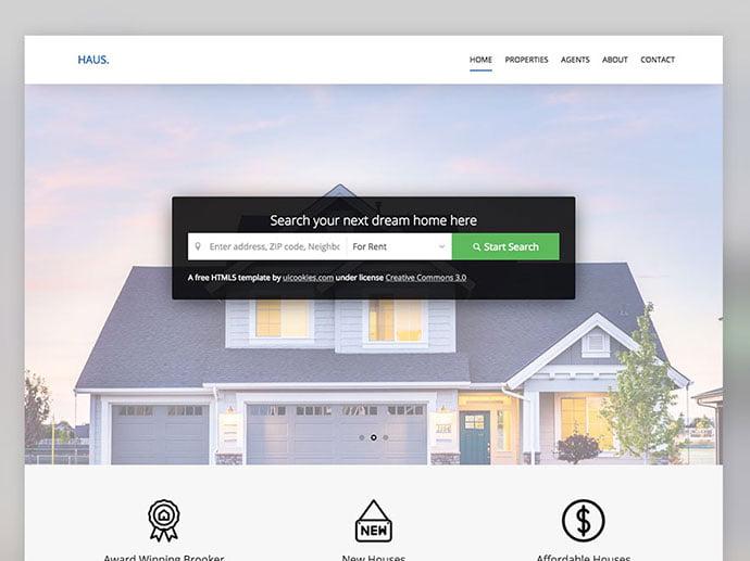 Haus - 65+ Amazing Free CSS HTML5 Website Design Templates [year]