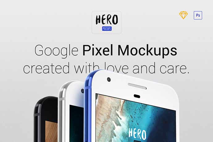 Hero-Pixel-Mockups - 51+ Amazing iOS and Android Phone PSD Mockup Templates [year]