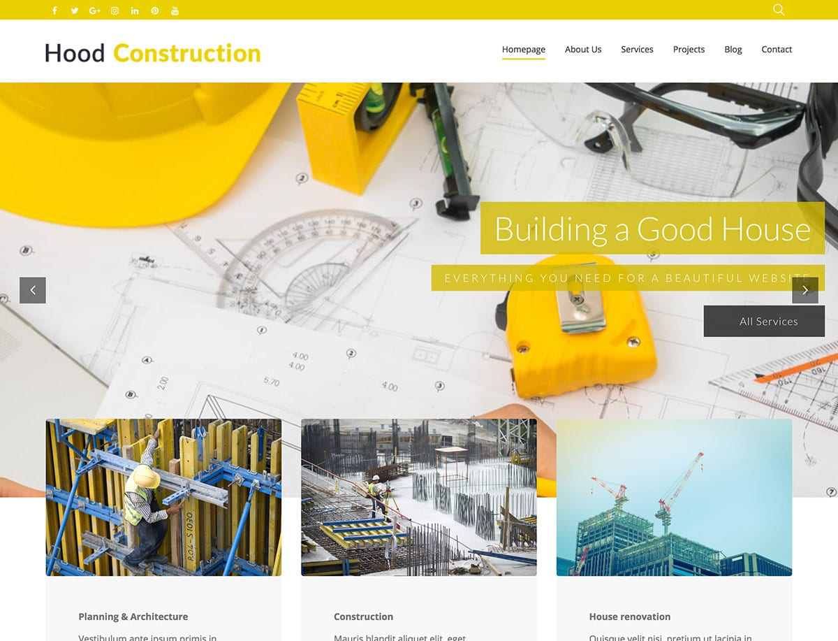 Hood - 37+ Top WordPress Themes For Construction Company [year]