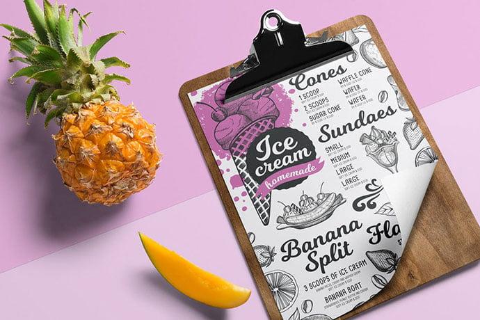 Ice-Cream-Menu - 36+ Stunning Hand Drawn Restaurant Menu Design PSD Templates [year]