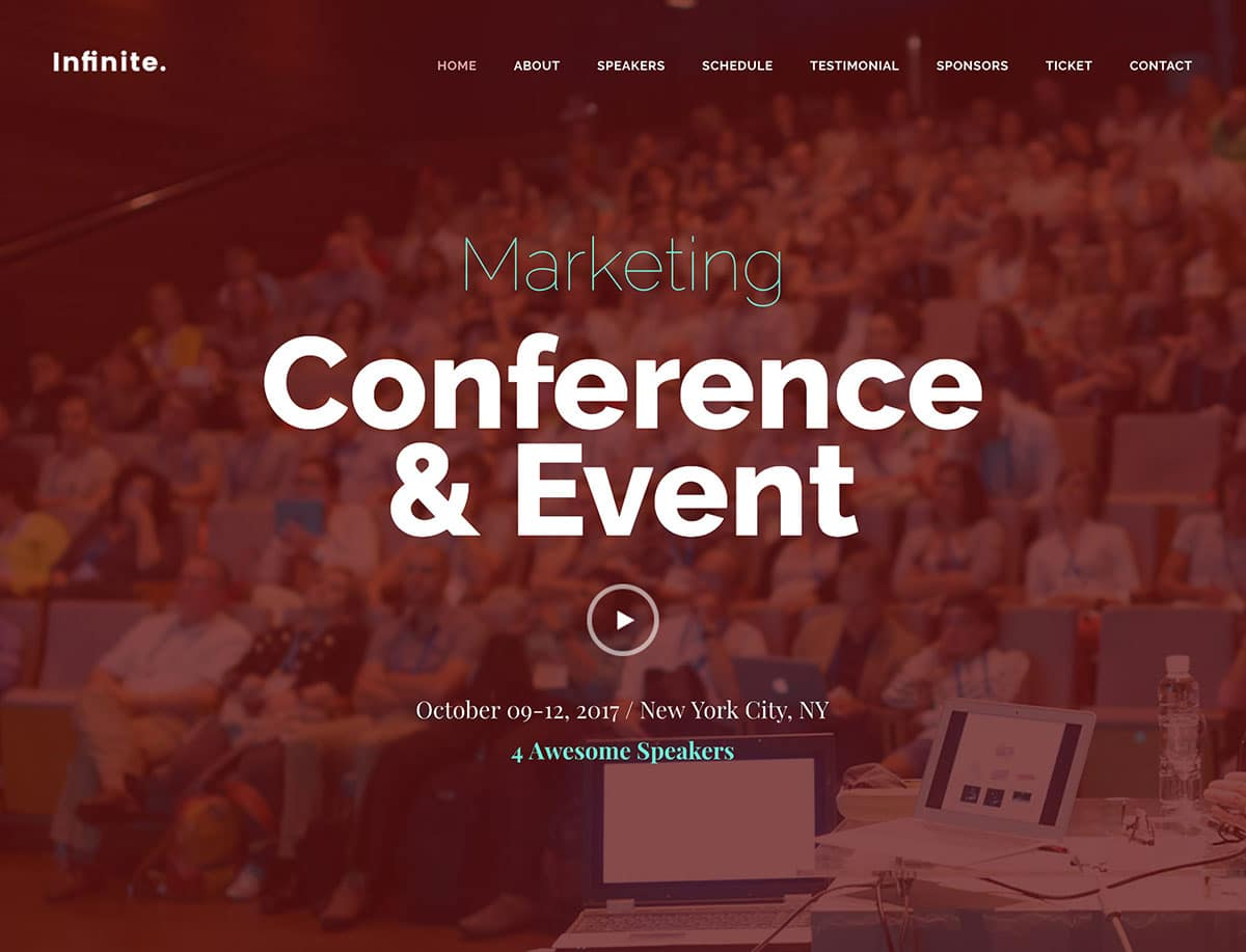 Infinite - 41+ Top Awesome WordPress Themes For Events [year]