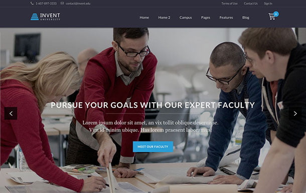Invent - 51+ Top Best WordPress Themes For Education [year]