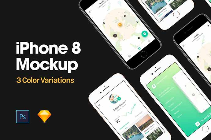 Iphone-8-Mockup - 51+ Amazing iOS and Android Phone PSD Mockup Templates [year]