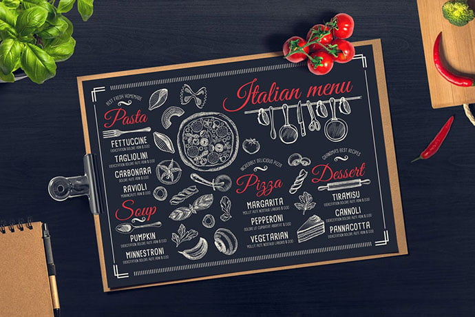 Italian-Food-Menu - 36+ Stunning Hand Drawn Restaurant Menu Design PSD Templates [year]