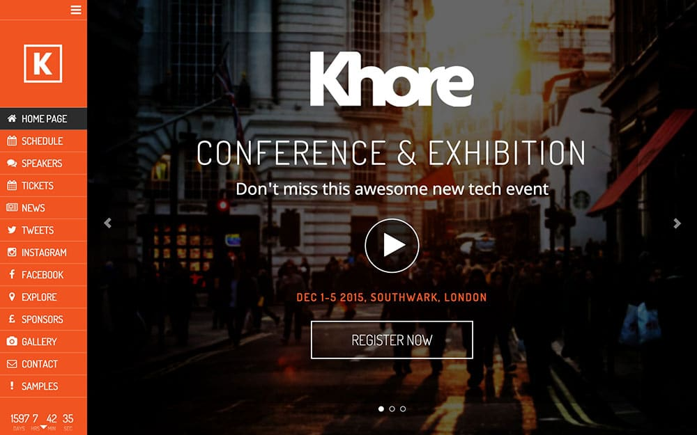 Khore - 41+ Top Awesome WordPress Themes For Events [year]