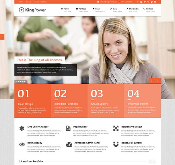 King-Power - 51+ Top Best WordPress Themes For Education [year]