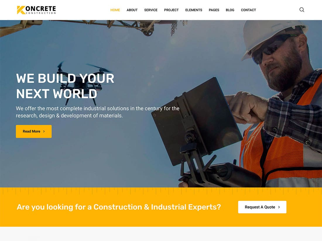Koncrete - 37+ Top WordPress Themes For Construction Company [year]