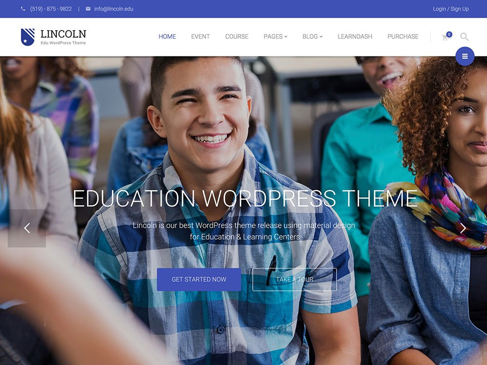 Lincoln - 51+ Top Best WordPress Themes For Education [year]